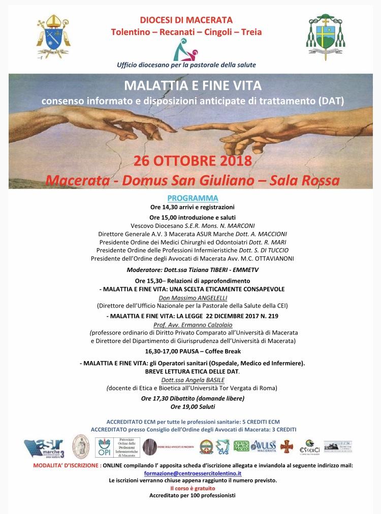 """Evento formativo 26 ottobre 2018 """"Malattia e fine vita"""""""